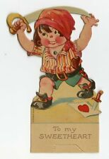 """Antique Mechanical 1920's Valentine, Pirate Boy with Sword 