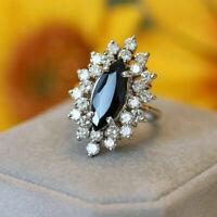 2 Ct Black Diamond Marquise Cluster Engagement Ring 14K White Gold Finish