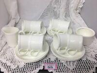 COALPORT 'RIBBED Ivory' SET Of 6 Demitasse Cups & Saucers Milk Jug & Sugar Bowl