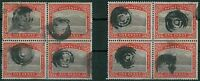 DOMINICA - TWO blocks of 4 ONE PENNY stamps with MUTE POSTMARK cancellation