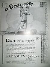 PUBLICITE DE PRESSE VELOUTY DE DIXOR A DEAUVILLE ILLUSTRATION LECLERC 1928