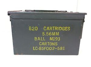 US Military Metal Ammo Can Box 820 Cartridges 5.56MM Ball M193 Cartons Some Rust