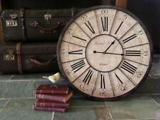 Large Mdf Wall Clock Industrial Grand Hotel Paris Metal &Timber 60cm