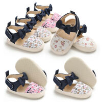Newborn Baby Girls Soft Crib Shoes Infant Toddler Floral Sandals 3 6 9 12 18 M