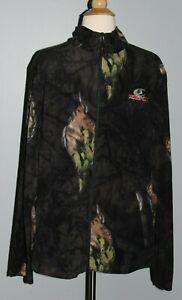NEW Men's Mossy Oak Soft Fleece Jacket Full Zip Eclipse Black Camo M L XL 2XL