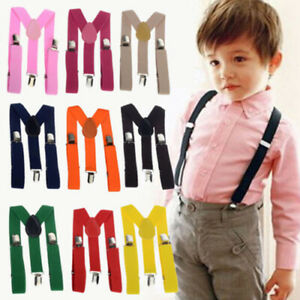 Kids Child Children Clip-on Suspenders Elastic Adjustable Brace