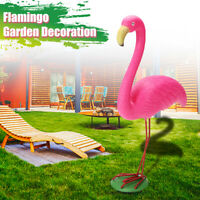 Flamingo Ornament Garden Resin Metal Outdoor Lawn Yard Light Xmas Decor Gift
