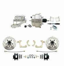 "1959-1964 Chevy Impala Bel Air Disc Brake Kit 8""  Chrome Booster Black Calipers"