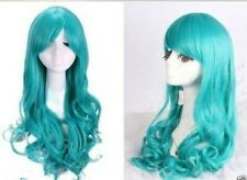 Women long Dark Turquoise blue body Wavy Cosplay party Wig