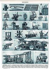 1950 Art Print Impression 68 ans Imprimerie Rotative Machine à Imprimer Plieuse