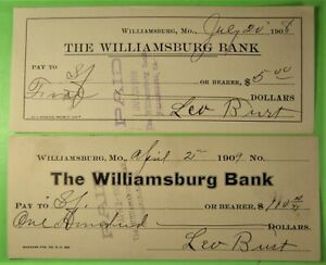 2 Bank Check on the Williamsburg Bank of Williamsburg, Mo. 1909, Leo Burt