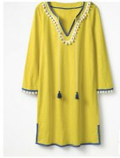 BODEN Kasia Jersey Holiday Beach Tunic Yellow Cotton Size Uk 8 Brand New