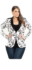 New Tags- City Chic Black and White Floral Bloom Jacket Size S Or 16