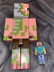 """Minecraft Zombie Pigman Large Poseable Action Figure 9"""" Mojang And A Mini Steve"""