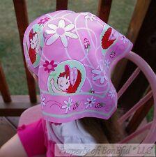 BonEful Fabric Cotton Pink White Strawberry Shortcake Head Wrap L Square Bandana