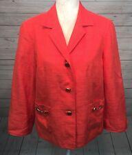 Talbots Jacket Blazer Orange Coral 14 Career Cotton Silk Wool Textured Gold