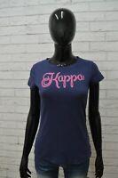 Maglia KAPPA Donna Taglia Size SM Maglietta Shirt Blusa Manica Corta Cotone Blu