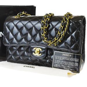 Auth CHANEL CC Matelasse Chain Shoulder Bag Patent Leather Black Vintage 677R422