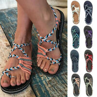 Womens Strappy Roman Gladiator Sandals Flats Crossover Beach  Flip Flops Shoes