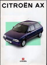 Citroen AX Mid 1994 UK Market Sales Brochure Debut Spree Echo Plus Forte