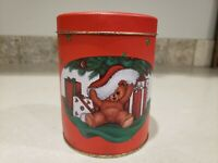 Vintage Christmas Round Tin House of Lloyd 1988 Teddy Bear Empty