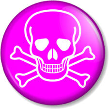 """Skull and Crossbones 1"""" Pin Button Badge Halloween Pirate Flag Jolly Roger Pink"""