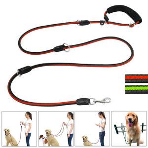 Multi Functional Dog Leash Rolled Nylon Pet Dog Training Lead with Soft Handle