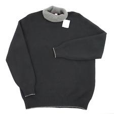 NWT BRUNELLO CUCINELLI Solid Black Cashmere Wool Turtleneck Sweater 58 3XL