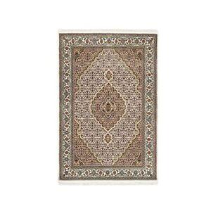 4'x6' Ivory Wool-Silk Fish Medallion Design Tebraz Mahi Hand Knotted Rug R62618