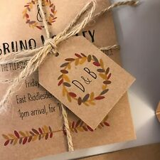 Autumn Foliage Favour Tag / Personalised Autumnal Wedding Tags / Rustic Name