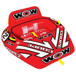 WOW Watersports 2P Coupe Cockpit Towable - 2 Person Fun Boat Tube Red Coupe