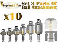 X10 Ball Attachment + Slicone Cap + Metal Cap 3 parts Set For Dental Implant