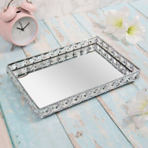 SILVER MIRROR CANDLE TRAY CRYSTAL EDGE DECORATIVE RECTANGLE TRAY DISPLAY