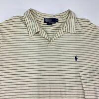 Polo Ralph Lauren Polo Shirt Men's XL Long Sleeve Cream Navy Striped 100% Cotton