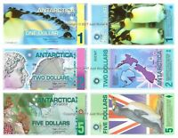 Antarctica 1 + 2 + 5 Dollars Polymer Set of 3 Banknotes 3 PCS UNC