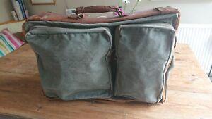 Vtg Travalite Canvas Leather Folding Clothe Garment Bag Suitcase Suit Case Valet