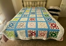 Hand Made Quilt Light Blue Shoo Fly Variation 92 X 62 Hand Sewn