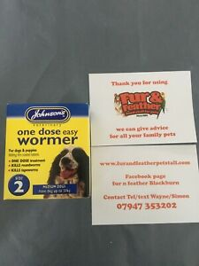 Johnsons One Dose Easy Wormer Dog Worming Tablets medium Dogs & Puppies Size 2