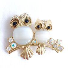 Vtg Moonstone Lucite Belly Owl Brooch Pin AB Rhinestone 2 Owls On Branch Bold