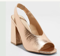 VALERIE ROSE GOLD PUMP HIGH HEELS METALLIC RETRO SHOES SIZE 6 A NEW DAY OPEN TOE