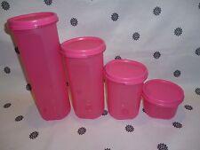 Tupperware Modular Mates Round Set of 4 Pink Pantry Storage New