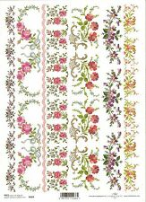 Rice Paper for Decoupage Scrapbooking, Embroidered Flowers  A4 ITD R469