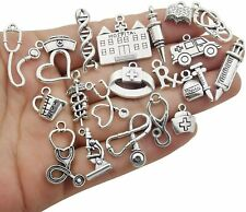 10 Nurse Charms Doctor Pendants Themed Antiqued Silver Assorted Medical Jewelry