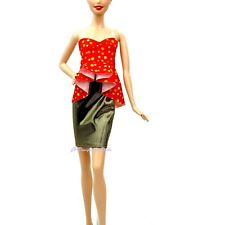 Barbie Fashionistas Gold and Red Dotty Glam Dress
