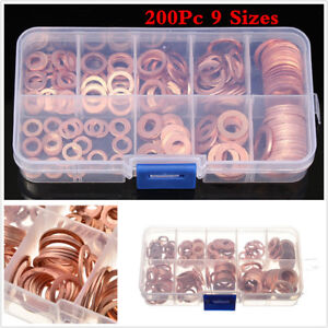 200pcs M5-M14 Copper Washers Flat Ring Sump Plug Oil Seal Gasket Assorted Set