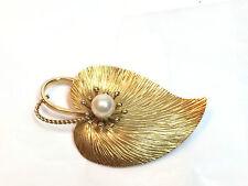 Gold Plated Cultured Pearl Leaf Design Pin/Brooch - Marked Krementz