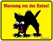 Katzenwarnung Warnung vor der Katze  Warnschild  Blechschild Funschild 17x22cm