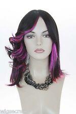 Ash Black / Hot Pink Blonde Medium Skin Top Wavy Straight Costume Fun Color Wigs