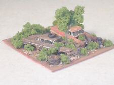 N Scale Diorama w/2 Rusted Out Cars in weeds w/ tree, Part # 34036528