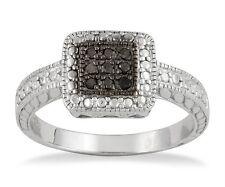 Black Diamond Ring .925 Sterling Silver Black Diamond Square Cluster Ring .09ct